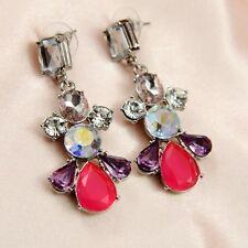 Boucles d`Oreilles Clous Argenté Rouge Violet Rétro Vintage Vente En Gros G1