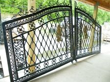 HAND MADE ESTATE CAST IRON VICTORIAN STYLE LION DRIVEWAY GATES - GATE#8