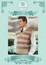 Vintage 1950s fair isle mens pullover to knit knitting pattern-free UK postage