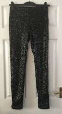 H&M BLACK SEQUINNED PARTY LEGGINGS - SIZE 10 BNWT RRP:£29.99