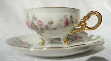 Vintage Three footed Japanese Gold Floral Porcelain cup and Saucer duo Japan