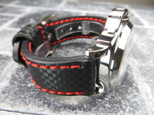 New CARBON Fiber 24mm LEATHER STRAP Band Black with Red Stitch PAM 24
