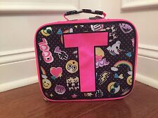 Justice Emoji Black Pink Polka Dot Initial T Lunch Box Tote New!