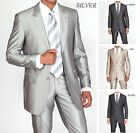 Men's 2 Piece Slim Fit Luxurious Wool Feel Suit 2 Button by Milan Moda 57021B