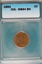 1893 Icg Ms64 Brown Indian Head Cent! #B3335