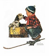 "Norman Rockwell boy & dog poster print: ""DOG FOR SALE"" or ""A BOY MEETS HIS DOG"""