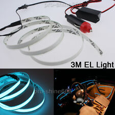 3M Ice Blue Interior Decorative LED Wire Atmosphere Cold Strip Ligh For Cadillac