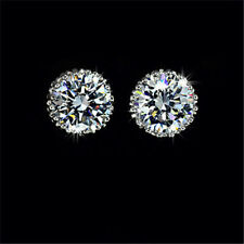 18K White Gold Austrian Swarovski Crystal Diamond Zircon Earrings Ear Stud ST-A