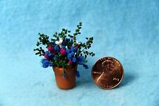 Dollhouse Miniature Variety of Flowers in Pot Pink Blue and White ~ F2060