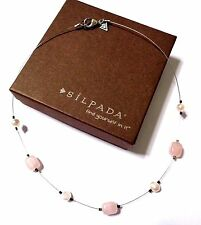 SILPADA~STERLING SILVER PINK FRESHWATER PEARL & ROSE QUARTZ NECKLACE~W1724