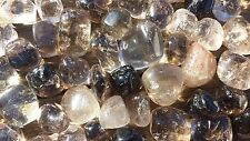 SIX (6) SMOKEY QUARTZ TUMBLED STONES MEDIUM/LARGE NATURAL TUMBLE STONES SMOKY