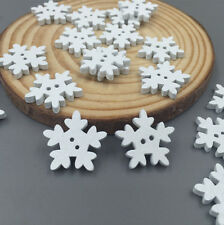 100pcs Crafts Christmas Snowflake Wooden Buttons Fit Sewing Scrapbooking 18mm