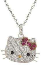 CLASSIC HELLO KITTY DIAMONIQUE STERLING SILVER KLASSIC KITTY PENDANT CHAIN QVC