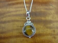 Tiger's Eye Stone Round Bead Work Look Sterling Silver 925 Necklace Pendant