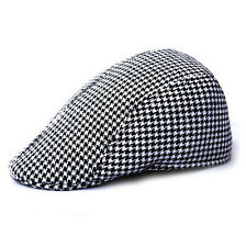 Classic Boys Kids Cotton Beret Cap Houndstooth Newsboy Peaked Flat Hat Black