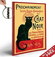 Le CHAT NOIR Retrò Poster-Thick cartone A4-VINTAGE FRANCESE Wall Art Decor