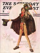 1934 Saturday Evening Post December 15-Norman Rockwell Cover -Tiny Tim Christmas