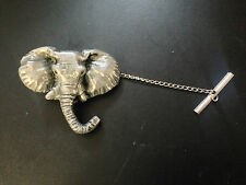 Elephant Head Pewter Effect Animal Emblem On a Tack Tie Pin