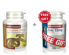 SimplySupplements L-Arginine 500mg 240 Capsules + FREE GIFT Zinc 15mg 60 Tablets