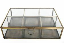 Antique Vintage Brass Glass Retro Jewellery Trinket Storage Display Box