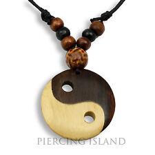 Halskette Anhänger Holz Amulett 3cm Ying Yang Design N285