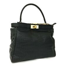 LEATHER JEWELS Coccoloux Black Crocodile Embossed Leather Tote Hand Bag / 3095y