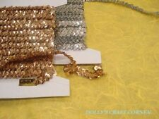 STRETCH SEQUIN TRIM - 12mm GOLD BY THE METRE- FREE POSTAGE