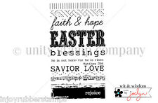 Unity Stamp Itty Bitty Cling Rubber Stamp SAVIOR LOVE Easter Blessings Rejoice