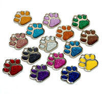 Personalised ID Pet Tag Glitter Paw 27mm Dog Tags ENGRAVED FREE