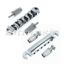 Electric Guitar Locking Roller Bridge Tailpiece Chrome For Gibson LP Les Paul