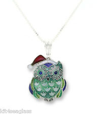 "Zarah Christmas Hoot Owl NECKLACE 18"" Sterling Silver Pendant - DISCONTINUED"