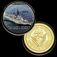 USS Claude V. Ricketts (DDG-5) GP Challenge pinted Coin