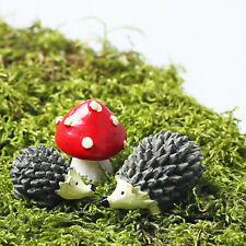 Set of 3pcs Miniature Fairy Ornament Hedgehog Mushroom Bonsai Landscape Decor
