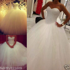 NEW White/Ivory Bridal Ball Gown Wedding Dress Custom Size:6-8-10-12-14-16-18-20