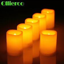 Ollieroo 6 Piece Flameless Votive Candles Flickering LED Light with battery New