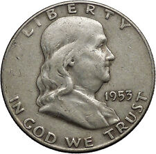 1953 Benjamin Franklin Silver Half Dollar United States Coin Liberty Bell i44591
