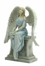 Angel with Roses Sitting On The Tombstone Color Statue Figures Hand Painted