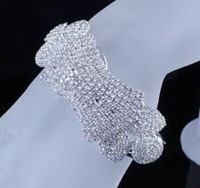 CLASSY BRIDAL AUSTRIAN CRYSTAL BANGLE BRACELET CUFF SILVER WEDDING PROM B12118