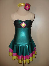 EUC Jade green, pink  yellow ice skating figure dress competition girls small