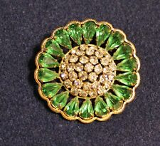 Vintage Austrian Crystal Brooch Gorgeous Green & White signed AUSTRIA