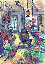 Vtg UNused XMAS Greeting Card 3 Mice In OLD COUNTRY GENERAL STORE,POTBELLY STOVE