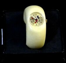 New Hi-End Ladies Girls MICKEY MOUSE WATCH THICK CREAM BRACELET WIND-UP STUNNING