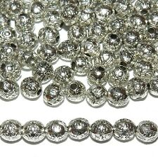 MBL7119L2 Antiqued Silver Fancy Deco 6mm Round Drum Metal Cast Beads 100/pkg