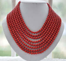"z6035 8strands Real 6MM round red coral bead necklace 16""-22""inch"