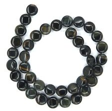 "15.5"" Natural Blue Tiger Eye Coin ~40 Beads 10mm K4602"