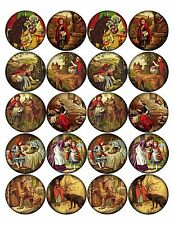 """20 Vintage pictures of Red Riding Hood round circle 2"""" glossy stickers bottlecap"""
