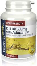 Krill Oil 500mg with High Levels of Astaxanthin | 90 Capsules|Provides EPA & DHA