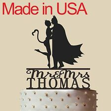 Personalized Batman and Catwoman Cake Topper,Acrylic,Wedding Gift,Made in USA