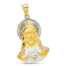 Jesus Halo Pendant Solid 14k Yellow White Rose Gold Religious Christ Charm Fancy