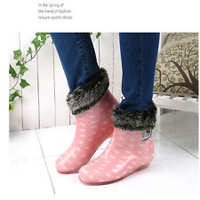 Women's Rain&Snow Ankle Boots Short Waterproof Shoes Warm Lining Removable
